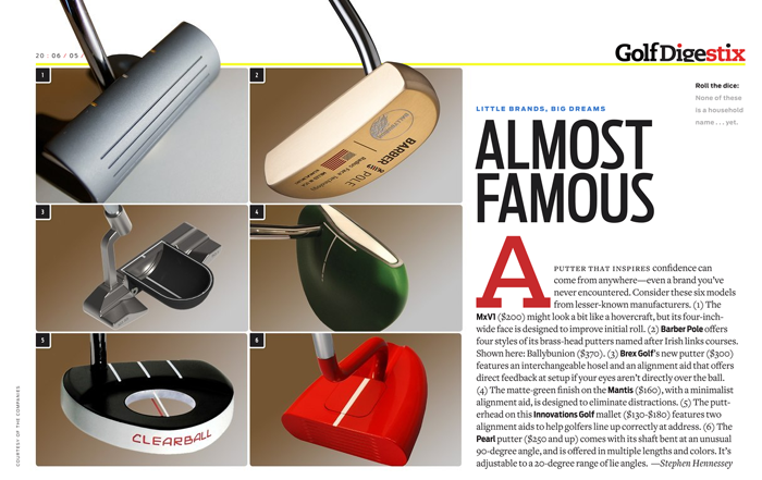 Brex Golf Model BG-1 featured in Golf Digest Stix e-magazine